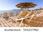 beach chairs on the white sand... | Shutterstock . vector #543237982