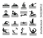 water sport icons set. simple... | Shutterstock .eps vector #543238912