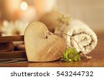 wooden heart with white towel ...   Shutterstock . vector #543244732