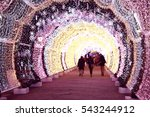 christmas decorated winter city ... | Shutterstock . vector #543244912