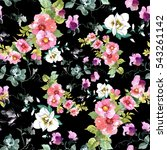 Stock photo watercolor hand drawn seamless colorful pattern with beautiful flowers and birds on black background 543261142
