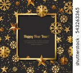 new year concept. 3d gold stars ... | Shutterstock .eps vector #543263365