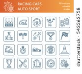 car racing vector line icons.... | Shutterstock .eps vector #543263758