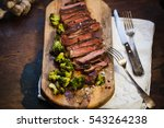 Cooked Beef Steak Rare With...