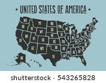 poster map of united states of... | Shutterstock .eps vector #543265828