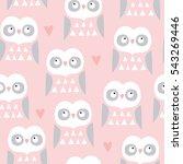 seamless owl bird pattern...   Shutterstock .eps vector #543269446