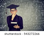 man in graduation cap with book ... | Shutterstock . vector #543272266