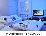 cute boy laying on sofa and... | Shutterstock . vector #54329710