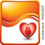 rose inside heart orange wave... | Shutterstock .eps vector #54331819