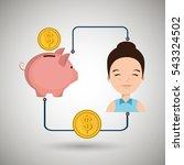 woman cartoon piggy currency... | Shutterstock .eps vector #543324502