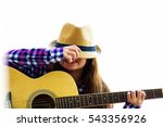 A Girl Is Playing Guitar. She...