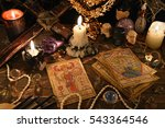 mystic ritual with tarot cards  ... | Shutterstock . vector #543364546