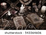 mystic ritual with tarot cards  ... | Shutterstock . vector #543364606