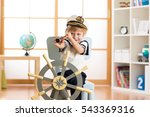 child pretend to be sailor.... | Shutterstock . vector #543369316