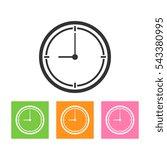 thin line clock icon on white...
