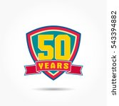yellow 50 years anniversary on... | Shutterstock .eps vector #543394882