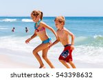 sister and brother running from ... | Shutterstock . vector #543398632
