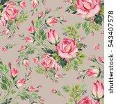 seamless pattern bouquet bud... | Shutterstock . vector #543407578