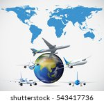 many airplanes flying around... | Shutterstock .eps vector #543417736