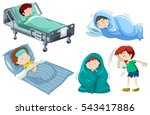 kids being sick in bed... | Shutterstock .eps vector #543417886