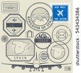 travel stamps or adventure... | Shutterstock .eps vector #543434386