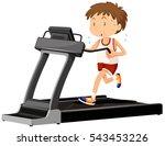 man running on treadmill... | Shutterstock .eps vector #543453226
