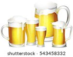 five glasses of fresh beer... | Shutterstock .eps vector #543458332