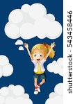 cute girl with sky background... | Shutterstock .eps vector #543458446