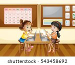 two girls working on computer... | Shutterstock .eps vector #543458692