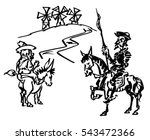don quijote with sancho panza | Shutterstock .eps vector #543472366