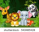 cartoon wild animal in the... | Shutterstock . vector #543485428