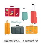 set of travel suitcases and... | Shutterstock .eps vector #543502672