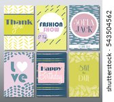 set of artistic creative cards... | Shutterstock .eps vector #543504562