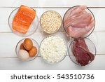 proteins  fish  cheese  eggs ... | Shutterstock . vector #543510736