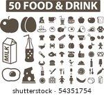 50 food   drink signs. vector | Shutterstock .eps vector #54351754