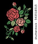Stock vector red roses embroidery on black background 543518515