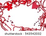 red beads  red heart and red... | Shutterstock . vector #543542032