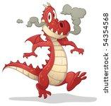 Cute Cartoon Red Dragon. Vecto...