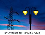lit on streetlamp at sunset... | Shutterstock . vector #543587335