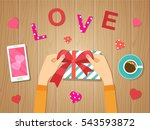 happy valentines day. woman's... | Shutterstock .eps vector #543593872