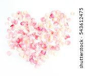 Stock photo valentines day heart symbol made of pink rose petals valentine s day background flat lay top 543612475