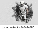 football player with a white... | Shutterstock . vector #543616786