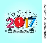 modern happy new year 2017... | Shutterstock .eps vector #543621892