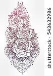 decorative rose flower stem...   Shutterstock .eps vector #543632986