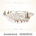 tuscany landscape with fields ... | Shutterstock .eps vector #543639652