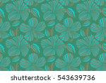 beige  green and blue hibiscus... | Shutterstock . vector #543639736