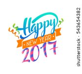 modern happy new year 2017... | Shutterstock .eps vector #543654382