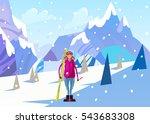 snowboarder. winter landscape... | Shutterstock .eps vector #543683308