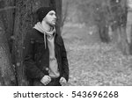 handsome beard man in autumn... | Shutterstock . vector #543696268