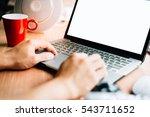 business man use laptop white... | Shutterstock . vector #543711652